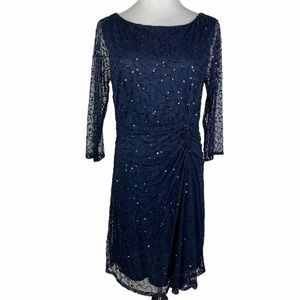 Pizarro Nights Mesh Sequin Beaded Ruched Dress